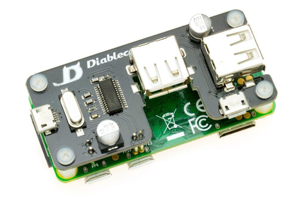 USB SHOE (versión 1.2) conectado a una RasPi Zero 1.2