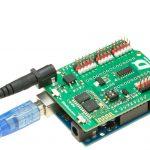Placa base de Furacos con la alimentación y el USB conectados